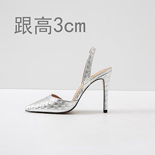 Vivioo Høje Hæle Sandaler Hæle Høj Hæl Sommer Baotou Sandaler Højhælede Lille Størrelse Sølv 3cm sOqIwQr7