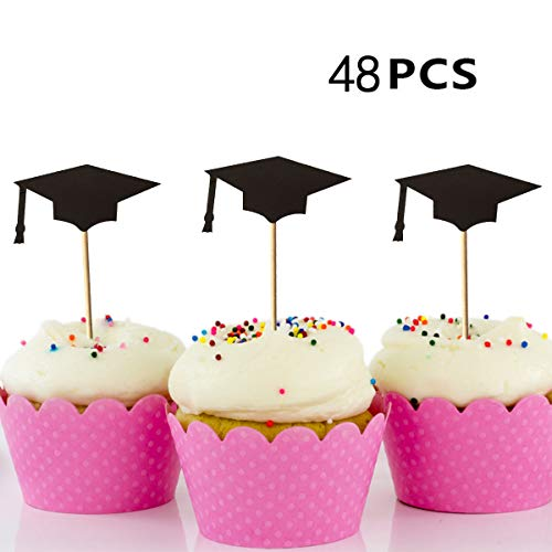 Price comparison product image 48PCS Graduation Cake Topper,  Picowe Black Cupcake Topper Grad Cap with Toothpicks and Glues for Diploma Graduation Party 2018,  Cake Decorations Tools (48PCS Cake Topper)