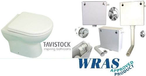 Tavistock Micra 500 Compact Mini Back to Wall Toilet Pan WC BTW Soft Close Seat Concealed Cistern E-PLUMB TAVMICRA-SFT-BTW-CIS
