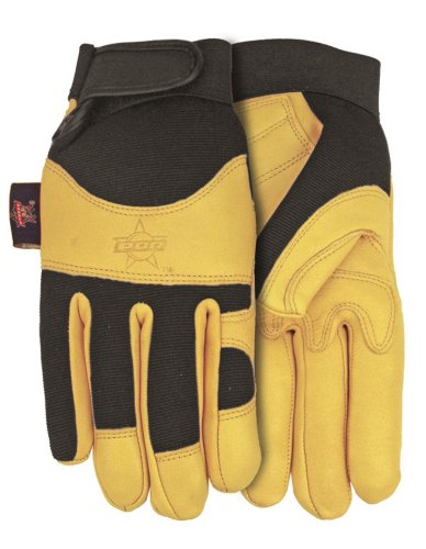 Professional Bull Rider (PBR) Premium Goatskin Leather Work Glove, Medium, PB116 by Midwest Gloves & Gear