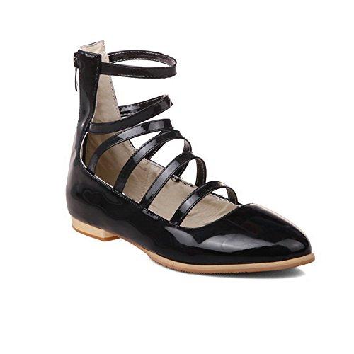 Balamasa Femmes Talons Carrés Retour Fermeture À Glissière Bout Rond En Cuir Verni Pompes-chaussures Noir