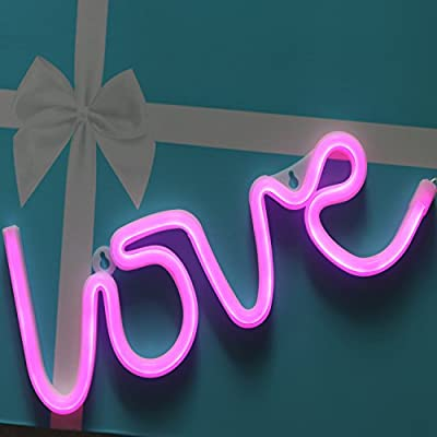 Neon Signs Love Letters Pink LED Decorative Night Light for Bedroom Wall décor Light for Wedding Valentine's Day Pub Battery Operated and USB Powered Neon Light(NELOV2)