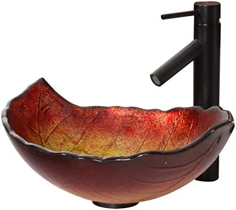 ELITE Summer Leaves Design Tempered Glass Bathroom Vessel Sink Oil Rubbed Bronze Finish Faucet Combo