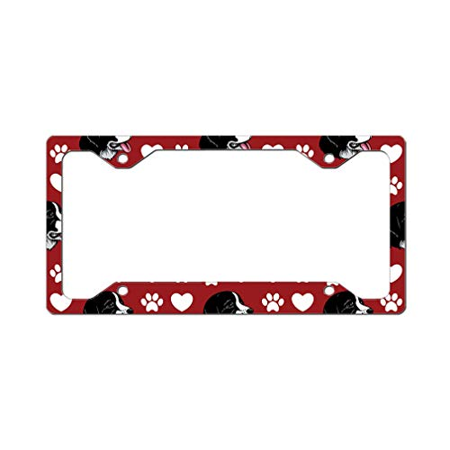 - Style In Print Custom License Plate Frame Landseer Dog Red Paw Heart Aluminum Cute Car Accessories Narrow Top Design Only One Frame