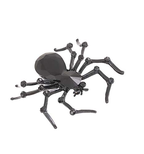 HSWE Halloween Custom Spider Brooch Pin Crystal Wedding Boutonniere Easter Jewelry Gifts (Black) ()