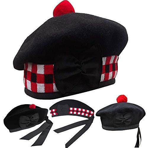 Men's Scottish Glengarry Balmoral Kilt Hats Diced & Plain 100% Wool Piper {Diced Black Balmoral 58cm (7 1/4)}]()