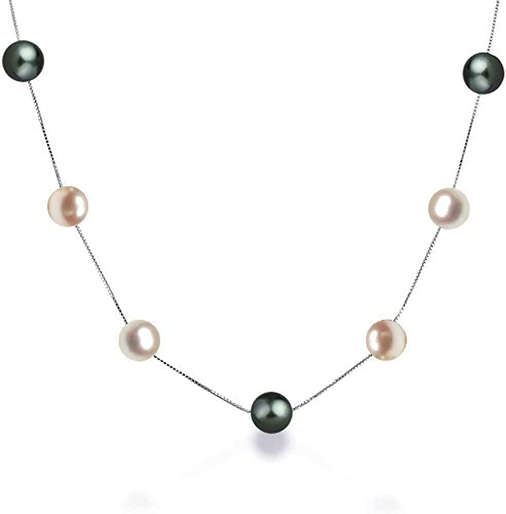 Simple Multi Color White Pink Black Freshwater Cultured Pearl Tin Cup Necklace For Women 925 Sterling Silver 16 18 Inch