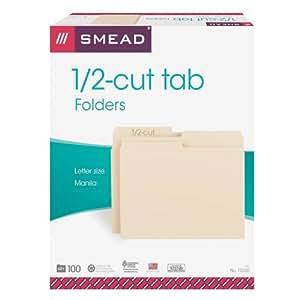 Smead Folder, Letter Size, 11 Point, 1/2 Cut Tab, Manila, 100 Per Box (10320)