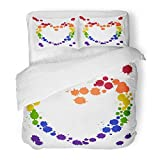 Emvency Bedding Duvet Cover Set Queen (1 Duvet Cover + 2 Pillowcase) Rainbow Colors Gay Lesbian LGBT Ink Stain Blots On White Use of Paint Splash Brush Hotel Quality Wrinkle and Stain Resistant
