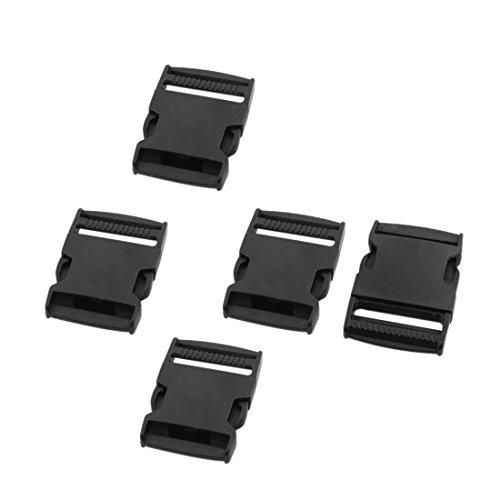 uxcell Plastic Belt Strap Flat Side Release Buckle 1.5 Inches Inside Width 5 Sets Black
