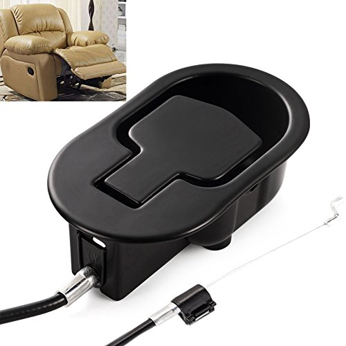 (FOLAI Recliner Replacement Parts - Universal Black Metal Pull Recliner Handle with Cable - fits Ashley and Major Recliner Brands Couch Style Pull Chair Release Handle for Sofa)