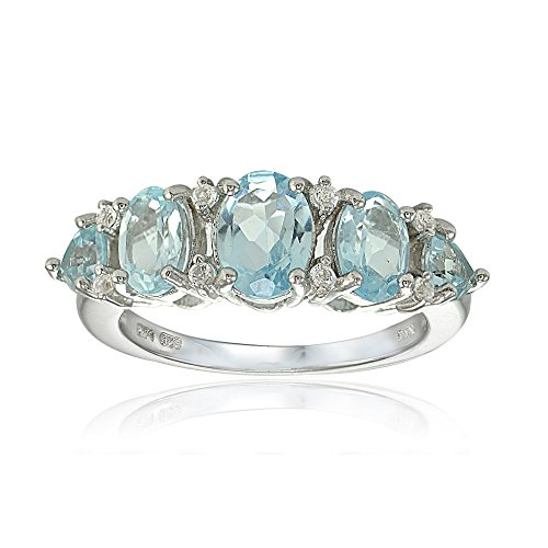 Sterling Silver Blue and White Topaz 5-Stone Half Eternity Band Ring, Size 6 ()