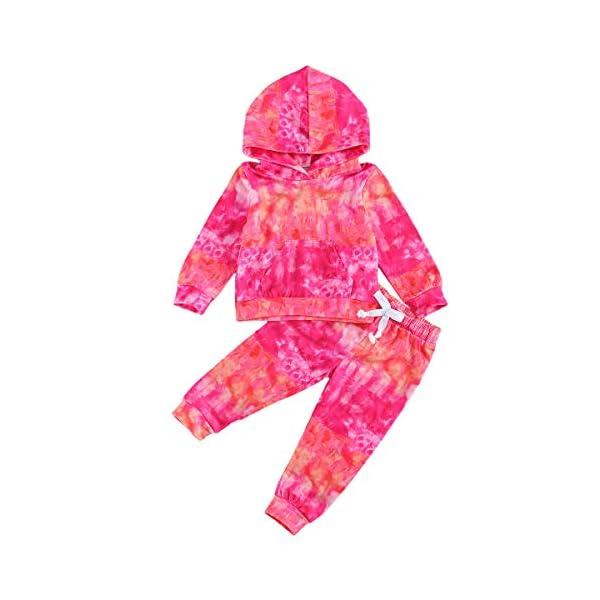 Carolilly 2 PCS Set Completo Sportivo Bambina Neonata in Velluto Felpa Senza Cappuccio + Pantaloni (6Mesi-5Anni) 1