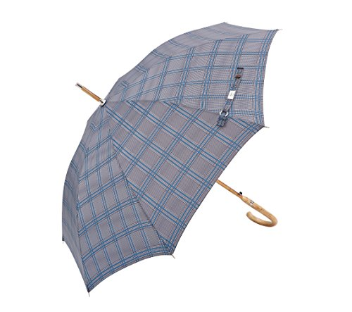Balios (Designed in Britain) Prestige Walking Stick Umbrella—Luxury Chestnut Wood Crook Handle—Bamboo Shaft—Windproof Fiberglass Frame—Auto Open-300T Finest Fabric (Glen Plaid)
