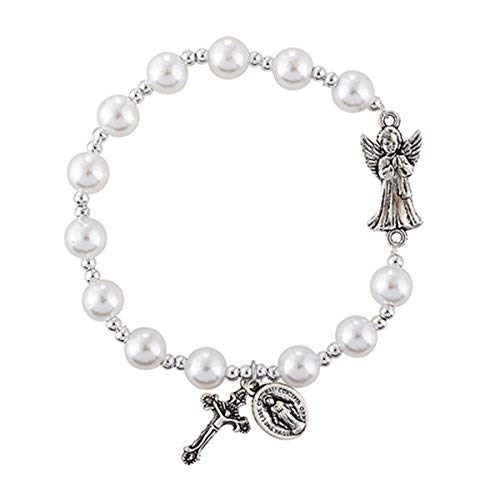 Guardian Angel White Bead Charm Rosary Bracelet, 7 1/2 Inch