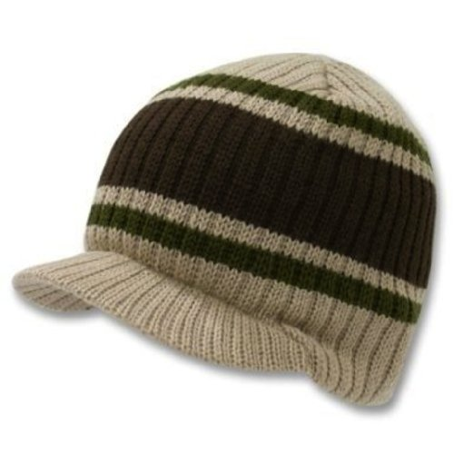 Decky Knit Visor Beanie (Decky Knit Visor Beanie Campus Jeep Cap (One Size, Striped Tan))