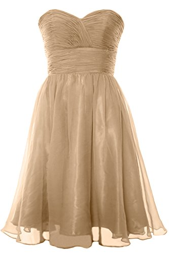 Dress Gown Cocktail Champagner 2017 Bridesmaid Formal Chiffon Strapless Party MACloth Short gSXwfzxgq