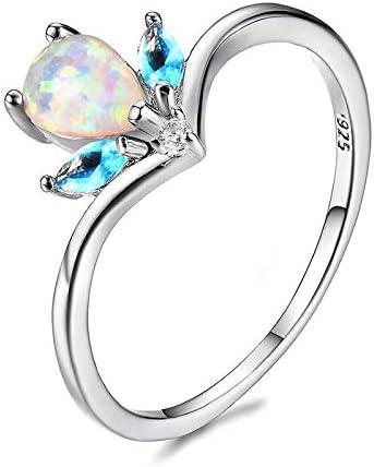 RVXZV 925 Anillos de joyería de Plata con Gota de Agua Azul Opal Piedra Preciosa Anillos de Plata para Mujer joyería Fina tamaño 6-10