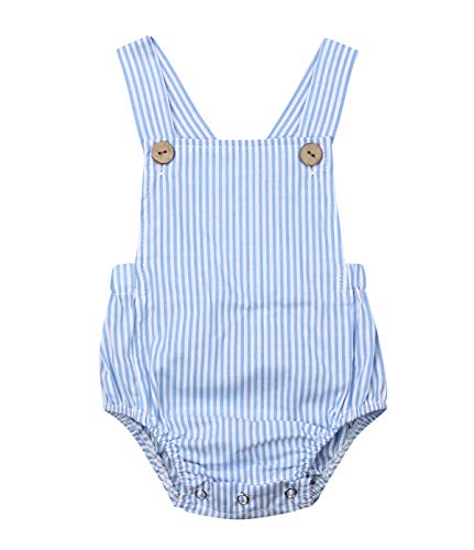 doublebabyjoy Newborn Baby 1 Piece Summer Romper Baby Girl Boy Solid Color Jumpsuit Sleeveless Backless Overalls Outfits (Blue, 12-18 Months)