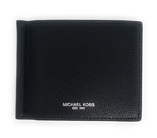 Michael Kors Men's Warren Leather Billfold Bifold Money Clip Wallet Black