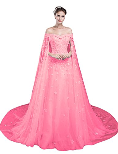 LMBRIDAL Women's Off Shoulder Long Prom Dress A Line Lace Wedding Gown Hot Pink 22W