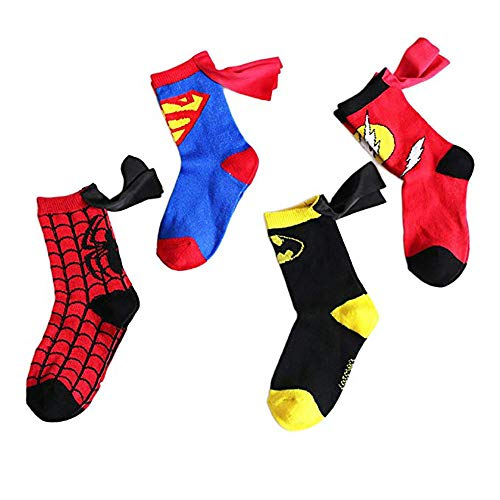 RoiRu 4-6 Years Old Kids Socks - Cartoon Marvel DC Superman Spider man Batman The Flash Design Children Cotton Comic Socks Unisex Boys Girls (Superhero Set 4 pairs)