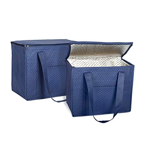 Outside Zippered - ATBAY Insulated Reusable Extra Large Grocery Bag Heavy Duty Shopping Tote Bags Keep Food Cold/Warm with Zippered Top and Outside Pocket, Navy blue (2 Pack)