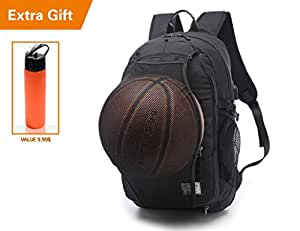 BAGLAND Sport Backpack - Basketball Backpack, Soccer Ball Backpack, Volleyball Backpack, Computer Backpack Laptop Backpack High Capacity (Black 6)
