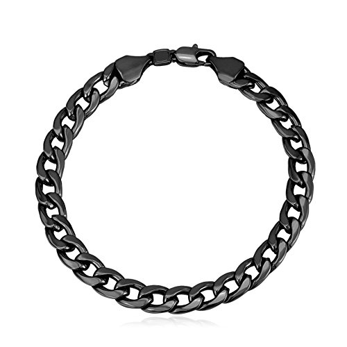 U7 Men Black Gun Plated 7mm Wide Classic Cuban Curb Link Chain Bracelet (Length ()