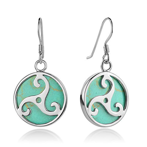 Sterling Silver Triple Spiral Triskele Triskelion Celtic Symbol Turquoise Dangle Hook Earrings 1.3