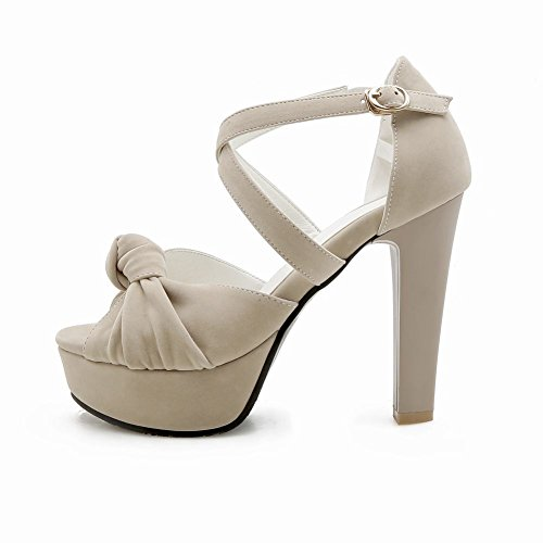 Carolbar Women's Elegant Fashion Peep Toe High Heel Buckle Dress Sandals Beige NgfmZtgma