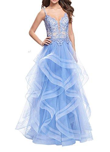 A Hell Langes Charmant Damen Blau Prinzess Promkleider Spitze Lang Jaeger Partykleider Festlichkleider Linie Abendkleider Gruen OOfCqxv
