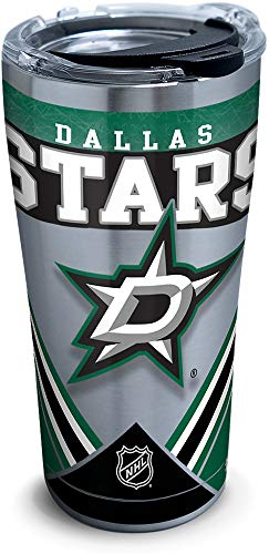 Tervis NHL Dallas Stars Ice Stainless Steel Insulated Tumbler with Clear and Black Hammer Lid, 20oz, Silver