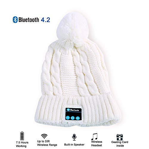(Make Your Life Bluetooth Beanie Snowboard Hat with Removable Wireless Headset Headphone Earphone Cap Speaker Mic for Outdoor Skiing Running Music Tech Birthday)