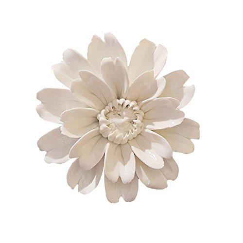 ALYCASO Handmade Decorative Ceramic Flowers 3D Wall Decor Hanging Room Decoration Art Sunflower White Medium 3.5in -