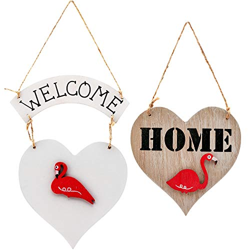 Wood Welcome Home Sign Heart with Flamingo Door Hanging Decorations Wall Decorative Ornaments for Front Door Indoor Outdoor Porch Entrance (Natural) ()