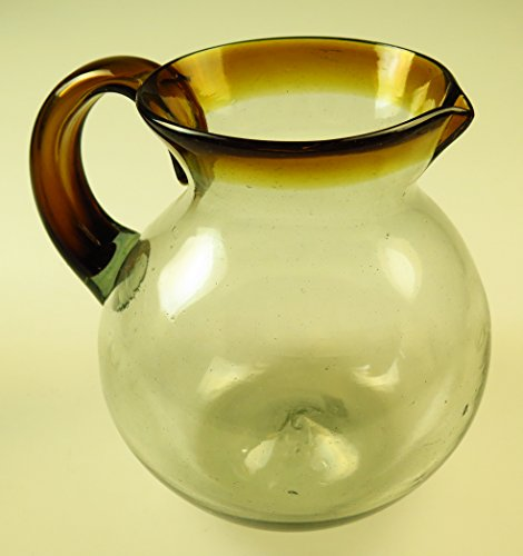 Mexican Glass Margarita or Juice pitcher, Amber rim, hand blown ()