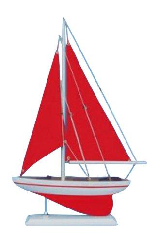 Hampton Nautical  Pacific Sailer, Red with Red Sails, Sailboat, 17