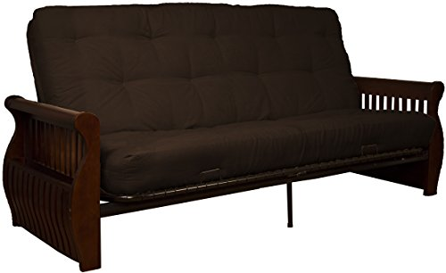 Laguna 8-Inch Loft Inner Spring Futon Sofa Sleeper Bed, Queen-size, Walnut Arm Finish, Microfiber Suede Chocolate Brown Upholstery
