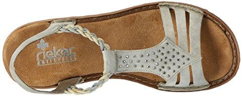 Rieker Women's 608y5 Wedge Heels Sandals Grey (Grey/Beige-silber / 40) 6xoNcI8Pdy