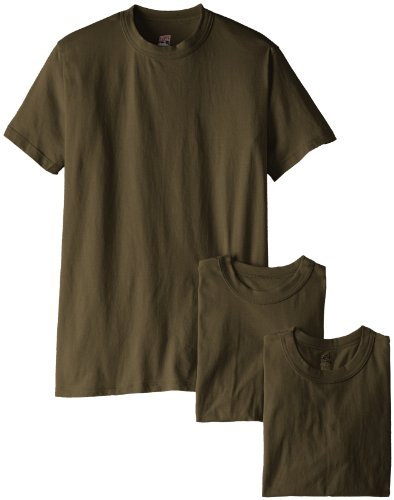 Soffe Men's Soft Spun Cotton Military 3 Pack T-Shirts, Green, Large