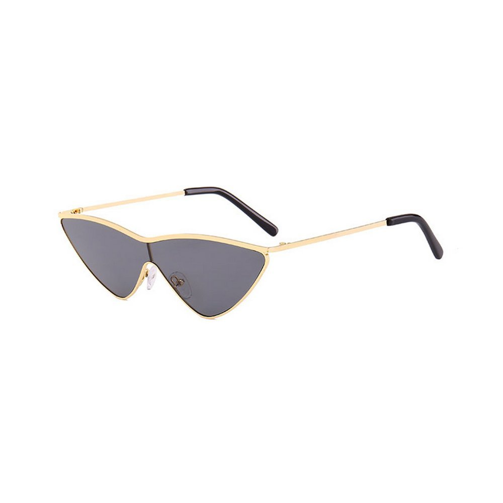 f3d5a761fa Amazon.com  MINCL Red Triangle Sunglasses Women cat Metal One Piece Lens  Small Sun Glasses (gold-black)  Clothing