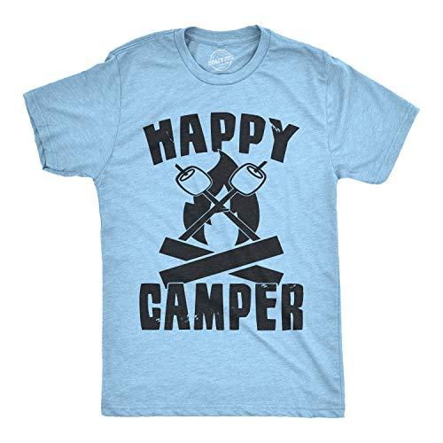 Mens Happy Camper Shirt Funny Camping Shirts Cool Vintage Tees Retro Design (Heather Light Blue) - XL