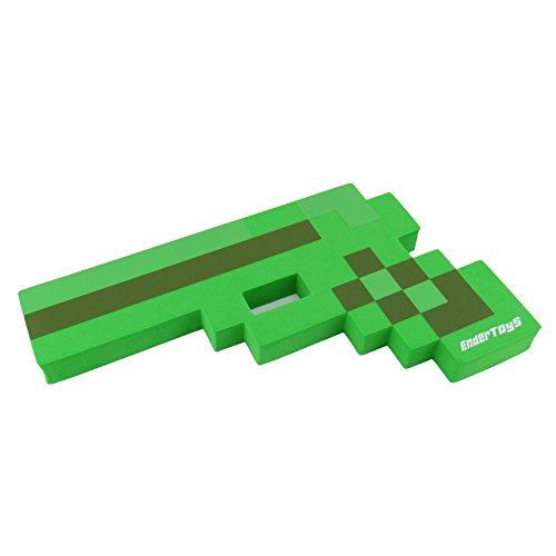 8 Bit Foam Gun Toy Weapon, Pixelated Creeper Green Pistol, 10 inch, EnderToys - Herobrine Costume