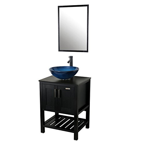 24' Mirror Cabinet (Eclife 32'' x 24'' x 20'' Bathroom Vanity and Sink Combo with Mirror Solid Glass Blue Vessel Sink and Faucet and Pop Up Drain A11B06)