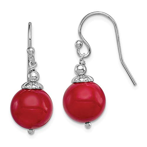 Mia Diamonds 925 Sterling Silver and Dyed Red Coral Bead Dangle Shepherd Hook Earrings (27mm x 11mm)