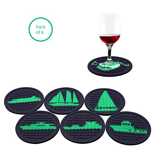 LALCO Silicone Coasters for Drinks, Beer Mats with Fluorescent Boat, Music, Animal Night Glow Pics, Waterproof drink Holders, Non-moldy Bar Mats, Pack of 6 with 3 Bonus Reusable Straws