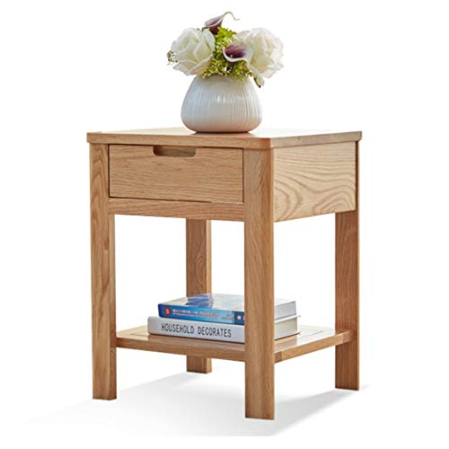 Metcandy Pure Solid Wood Bedside Table with Drawer Oak Single Light Table Cabinet Nordic Chest of Drawers Bedroom Environmental Protection Locker,Wood Color,403550cm