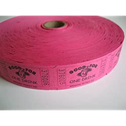 2000 Hot Pink Good For One Drink Single Roll Consecutively Numbered Raffle Tickets