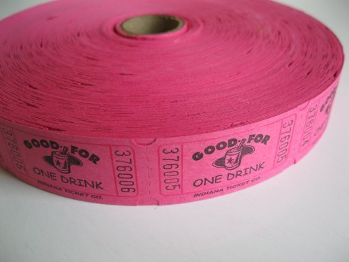 2000 Hot Pink Good For One Drink Single Roll Consecutively Numbered Raffle Tickets for $<!--$7.95-->